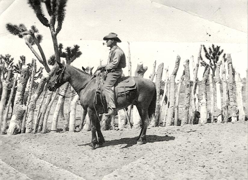 Tap Duncan saddled and ready to go. He appears to have a corncob pipe. – All photos courtesy Tap Lou Duncan Weir –