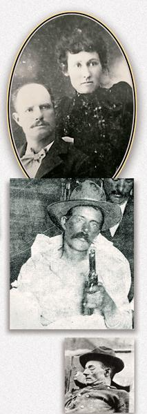 """In 1898, Tap and Ollie Duncan (top) originally settled south of Hackberry, Arizona, on Knight Creek. Duncan ran his cattle on the Hookedy H Brand. The Duncans bought the Diamond Bar Ranch in 1910. Tom """"Black Jack""""Ketchum (center), as he appeared after his capture near Folsom, New Mexico. Harvey Logan (bottom), as he appeared after being dug up."""