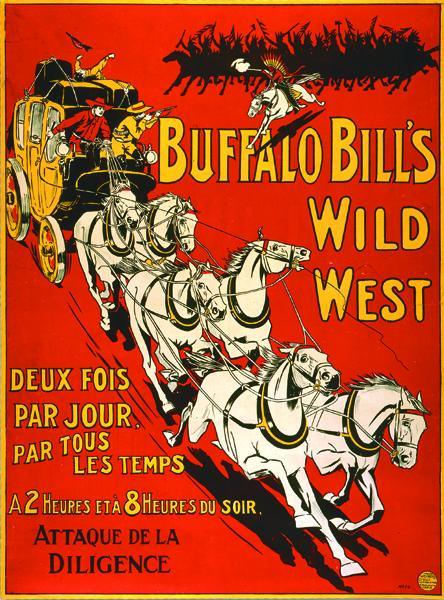 The holdup of the Deadwood stage was a favored event at Buffalo Bill's show. For this act, the showman convinced the city's leading citizens to ride in the stagecoach.– Courtesy Buffalo Bill Historical Center / Cody, Wyoming / Mary Jester Allen Fund; 1.69.6022 –