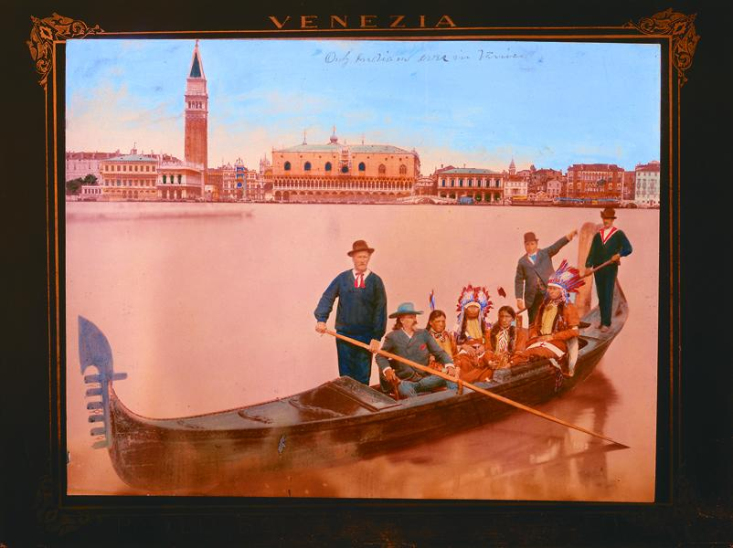 """William Cody and four unidentified Indians see the sights of Venice in this hand colored fotografo by Paolo Salviati, titled """"Only Indians ever in Venice.""""– Courtesy Buffalo Bill Historical Center / Cody, Wyoming / P.69.822 –"""