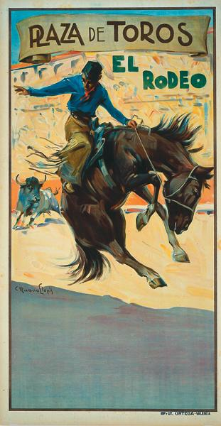 A later mutation of the Wild West shows is the American rodeo, which toured Europe well into the 1920s, as this colorful Valencia, Spain, example at right attests.– True West Archives –