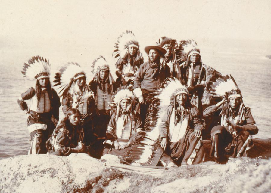 """Taken on May 29, 1904, this photograph shows the """"only North American Red Indians ever at Lands End, England.""""– Courtesy Buffalo Bill Historical Center / Cody, Wyoming / P.69.972 –"""