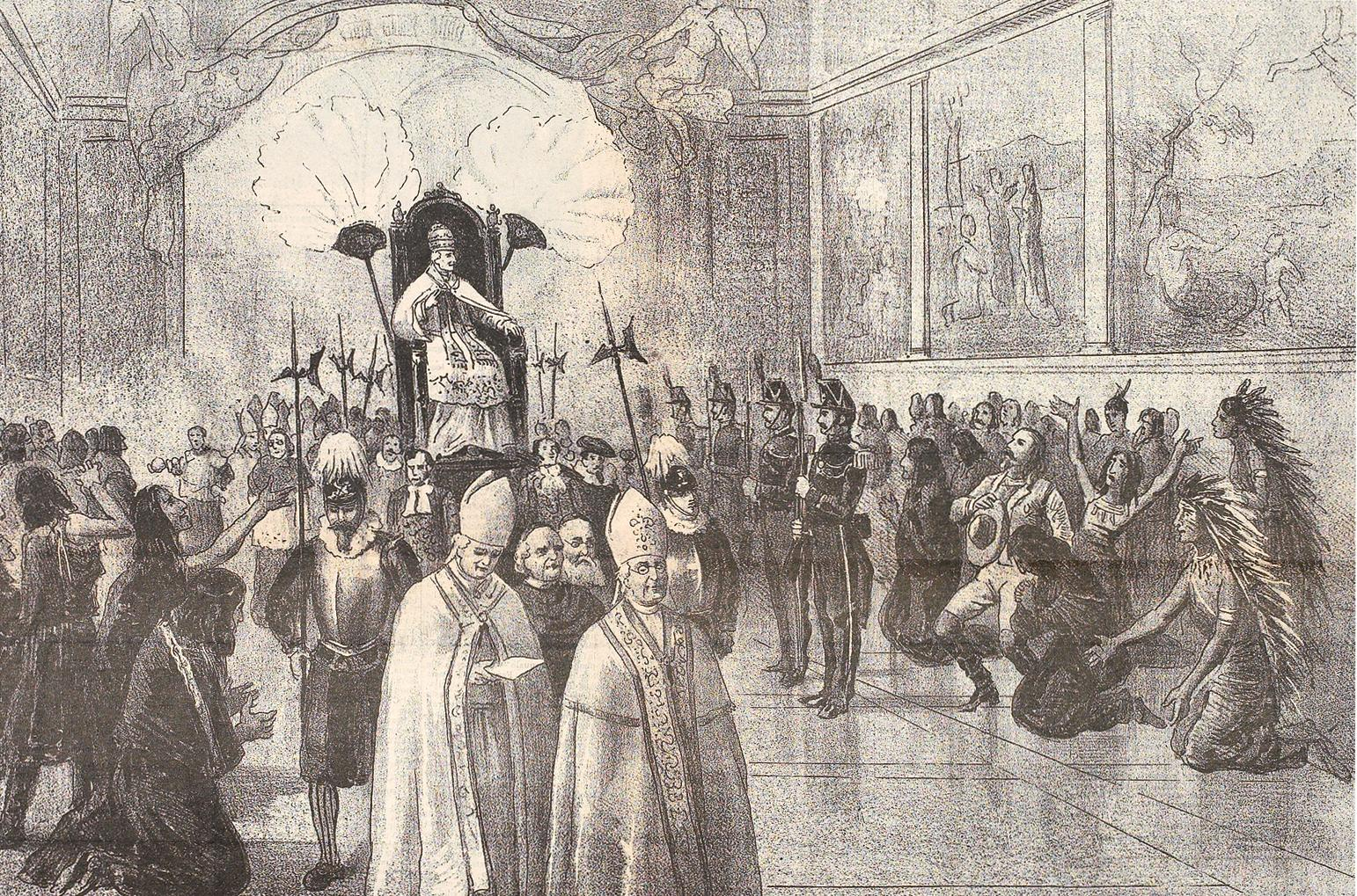 """During the 1889-90 tour of Europe, Buffalo Bill and his performers visited Rome, """"where Pope Leo XIII singled out the performers for a special blessing,"""" reports the 2005 book Buffalo Bill in Bologna by Robert W. Rydell and Rob Kroes.– Courtesy Buffalo Bill Historical Center / Cody, Wyoming / MS6.IX.6.2 –"""