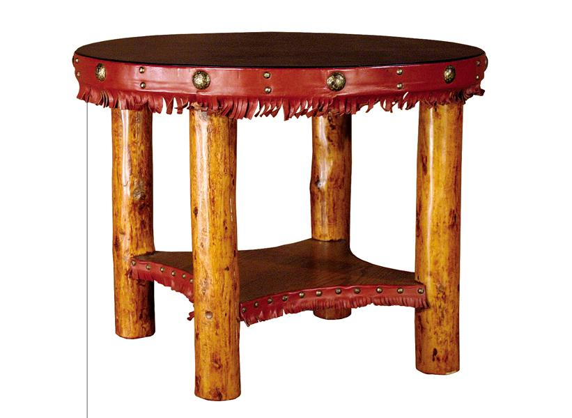 The highest-selling lot in the Molesworth portion of the sale was this end table. It has a 291⁄2-inch black leather round top with red-fringed trim embellished with studs. The peeled pole legs are 23 inches tall; $24,000. Auctioneer Brian Lebel says that people bid high for this piece since this was the last Molesworth lot in the auction.
