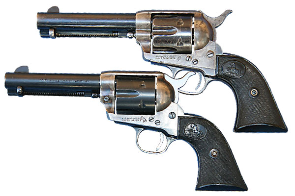 """The difference between """"black powder"""" and """"smokeless"""" framed Peacemakers."""