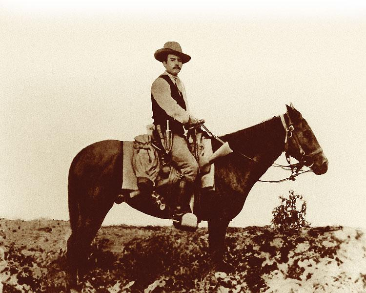 One of the most famous Rangers ever, James B. Gillett, shown here on his horse Duty in 1878. Gillett wrote the classic book Six Years With the Texas Rangers, discussing his years in service from 1875-1881.