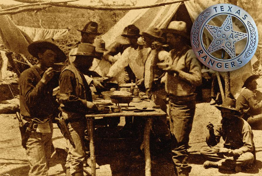 (photo) The second Texas Ranger camp photo by M.C. Ragsdale.(Inset) In the milieu of Old West collectibles, few items suffer from counterfeit more than 19th-century law badges; Texas Ranger badges are more the rule rather than the exception. The Co. A badge is one of the most common fakes—many of which are stamped from five-peso Mexican coins bearing dates from the 1940s.