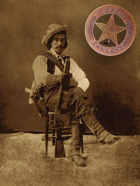 Texas Ranger Gus Gildea, in the 1870s, wearing V-topped boots and a bowie knife in front of his pistol holster. The Winchester appears to be an 1873 model. Across his chest, Gus also sports a bandolier, long thought to originate during the Mexican Revolution of 1910-20. This image predates that style by at least 30 years!(Inset) Several variations of this 1890s flag badge can be found for sale on the Internet—unfortunately the wreath motif is a concoction found on fakes made in the 1960s.