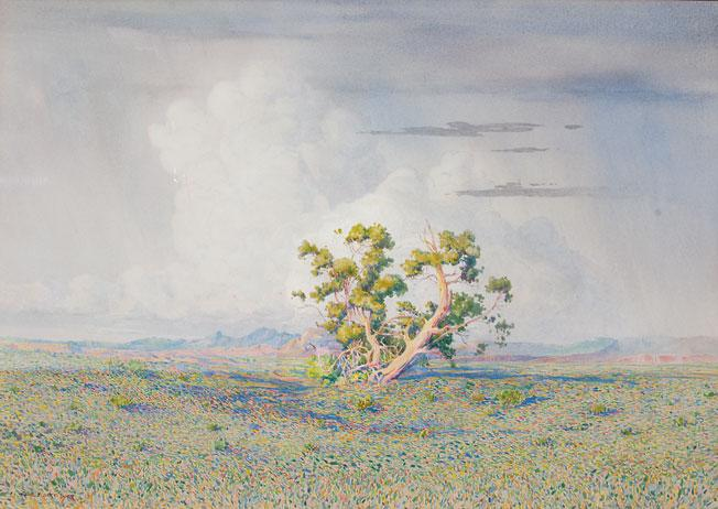 9. After the Storm, George Elbert Burr (1859-1939), c. 1924 Watercolor; Abe's Estimate: $30,000 to $50,000.– Hays Collection, Paradise Valley, Arizona –