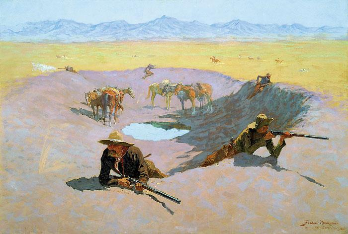 2. Fight for the Waterhole, Frederic Remington (1861-1909), 1901 Oil on Canvas; Abe's Estimate: $6 million to $8 million.– Hogg Brothers Collection/Museum of Fine Arts Houston –