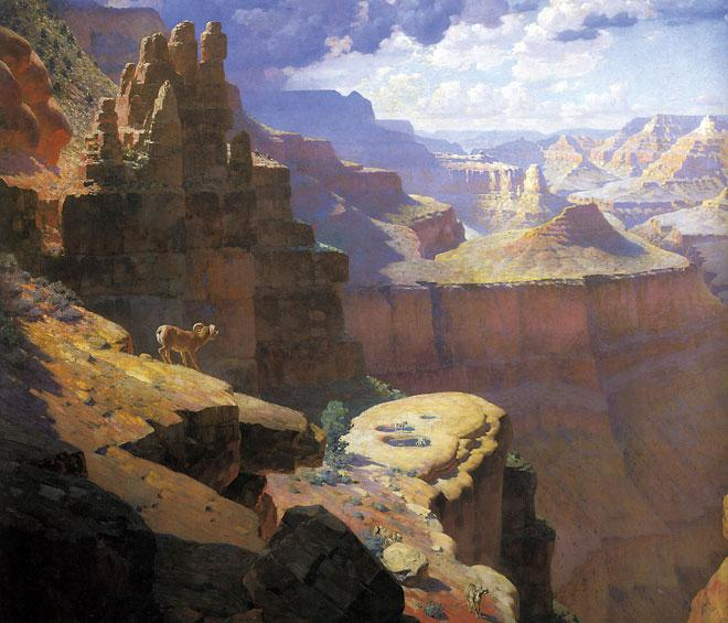 6. Grand Canyon, William R. Leigh (1866-1955), 1911 Oil on Canvas; Abe's Estimate: $2 million to $4 million. (Detail shown)– Newark Museum, New Jersey –