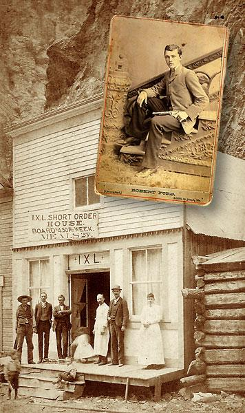 Citizens in Creede stand in front of the IXL Short Order House in 1892, the same year that Jesse James's killer, Robert Ford, was shot down and killed. More than 100 miners and dance hall women turned out for his funeral at the town's local boot hill, although his body was later buried in his Missouri hometown.