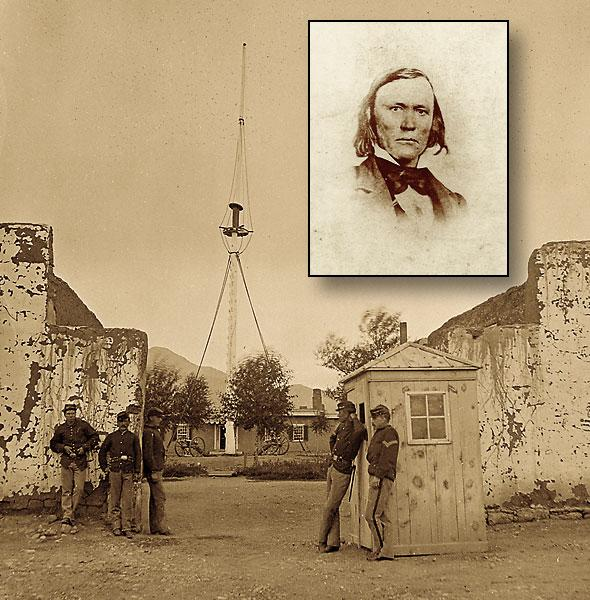Commander Kit Carson (inset) was stationed at Fort Garland from 1866-67. These troops are shown guarding the fort, a few years later, in 1874.