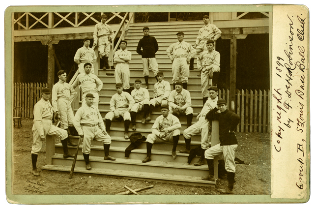 The St. Louis Perfectos ball club on the stairway to the grandstand in 1899, the year after the team relinquished its Brown Stockings...both literally and eponymically.