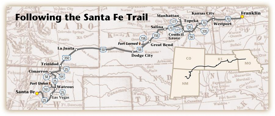 Wonderful Santa Fe Trail On Us Map Swimnovacom - Us map santa fe