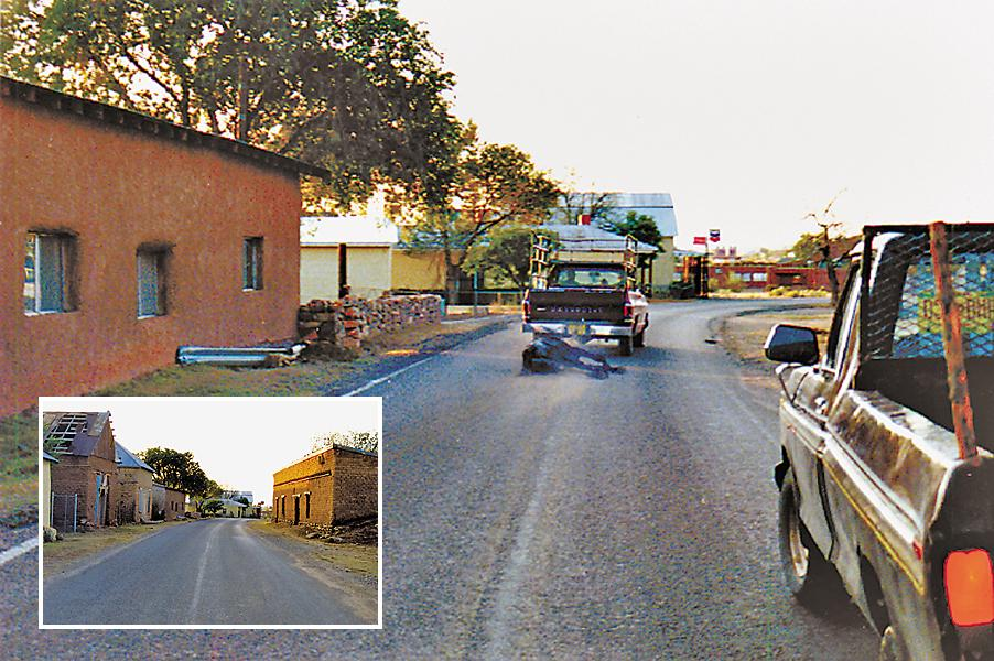 The Luceros drag a dead horse down the main drag in Anton Chico (right). I took this shot in 1991, as I was interviewing a local. I heard a strange noise and turned just in time to see the macabre sight. The inset photo was taken at sunrise on the same part of the street about 15 minutes prior; funny how quickly the mood of a place can change! Unfortunately, most of the buildings shown here have since fallen or been torn down.
