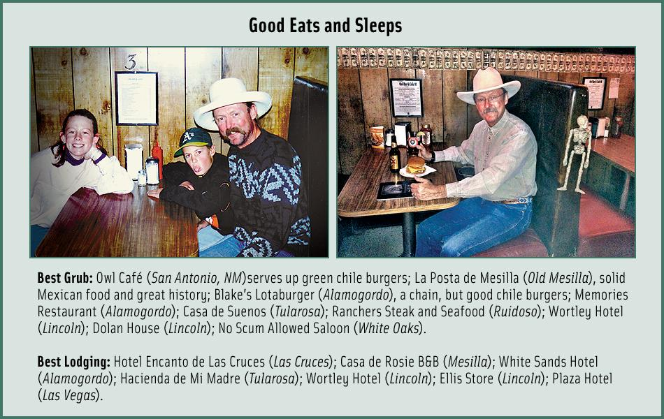 Best Eats & SleepsJune 1994: Excited to be at the Owl Café (left, from left) Deena Bell, Thomas Bell and Bob Boze Bell. (Right) Same booth, on the way to the Lincoln County Cowboy Symposium in Ruidoso Downs, on October 11, 2012.