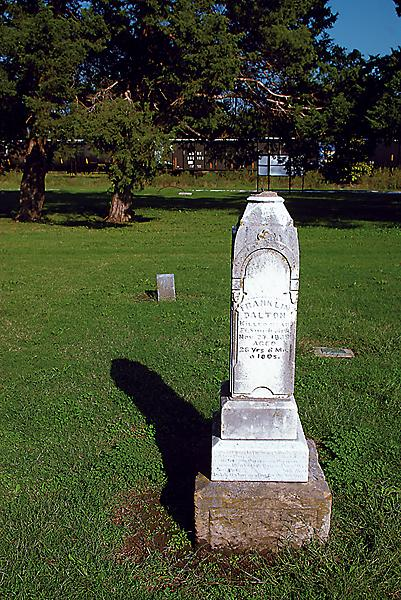 Frank Dalton is buried in a place of honor at the cemetery in Coffeyville, Kansas. His nefarious brothers are nearby, yet separated from the rest of the upstanding citizens.