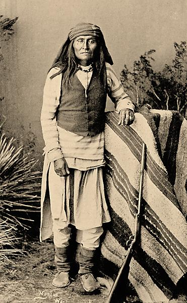 """In his biography of Chief Mangas Coloradas, Edwin Sweeney reported that the chief, the only Chiricahua leader to sign the 1852 treaty at Acoma, signed with the Americans so he could concentrate on the tribe's Mexican enemies, who were encroaching on the New Mexico portion of Apacheria. He wrote, """"...throughout his life Mangas never agreed to any treaty that forfeited his rights to his country."""" One of the chief's sons, Sethmooda, was killed by Mexicans in the Pinos Altos Mountains; another, Carl Mangus (left), died at Fort Sill in 1901.– Courtesy National Museum of the American Indian, Smithsonian Institution P06772 –"""
