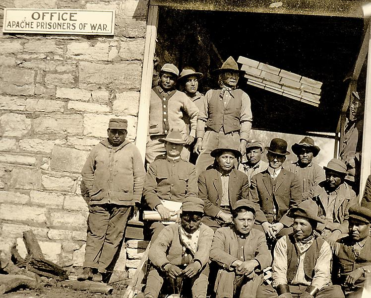 This shows the last meeting, in 1914, of the Fort Sill Apaches as prisoners of war at the Oklahoma fort.– Courtesy Fort Sill Apache Tribe –