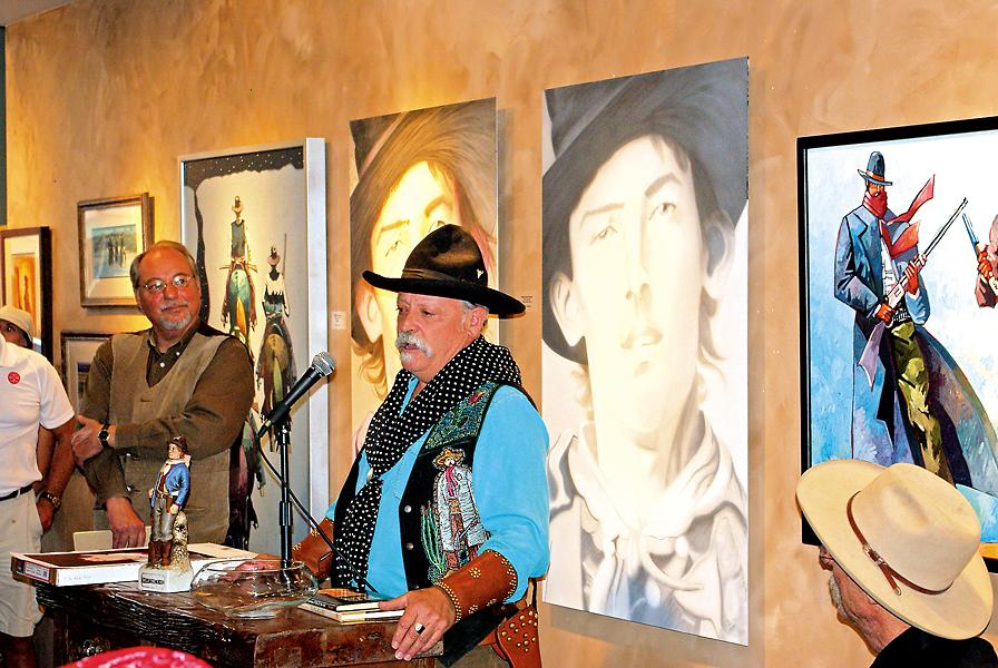 Artist Thom Ross speaks about Billy the Kid at Santa Fe's Due West Gallery, which blends art with history by hosting symposiums and talks about Old West figures and events.