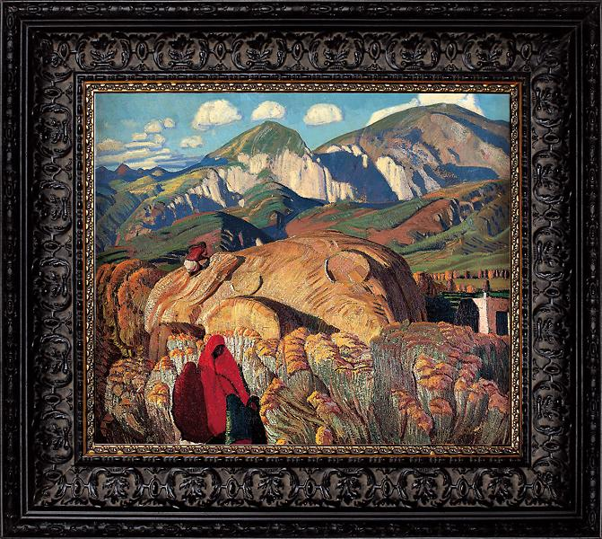 When you drive through the rolling hills of Taos Valley, you can imagine the Indians E.L. Blumenschein saw when he painted them in this artwork, rounding his subjects so they were more a part of the haystacks that dominate the landscape. You can see this painting at the Fred Jones Jr. Museum of Art at the University of Oklahoma in Norman.– Courtesy Fred Jones Jr. Museum of Art, University of Oklahoma, Norman; Given in memory of Roxanne P. Thams by William H. Thams, 2003 –