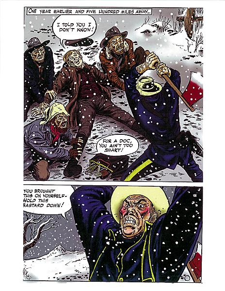 Before Shotgun the novel got made (see opposite page), there was Shotgun the comic book. Belgian comic artist Gérald Forton created the book's sample pages, like the one shown at left. Having worked on numerous U.S. comics in the 1970s-80s, Forton created art for Western series that included DC's Jonah Hex to the French Teddy Ted.– Shotgun cover courtesy Pinnacle –