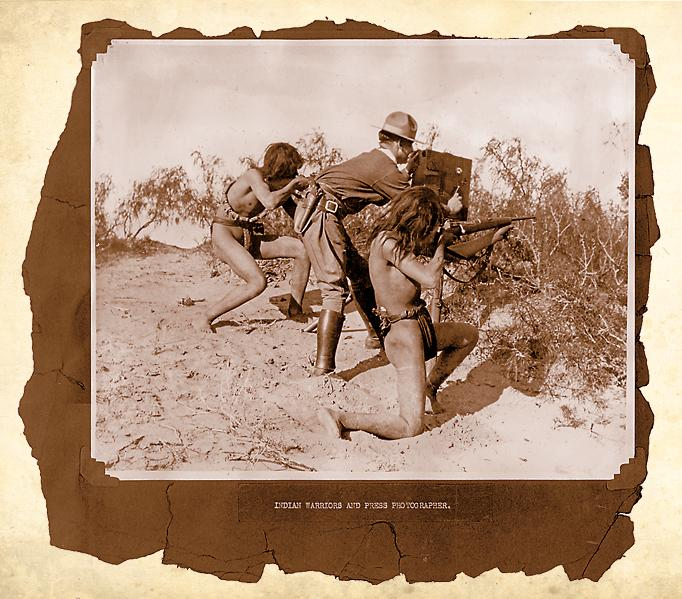 Battle of NacoThis publicity photo reveals Yaqui warriors protecting a U.S. cameraman during the Battle of Naco in April 1913. The fledgling movie industry had numerous film crews documenting the Mexican Revolution.– Courtesy Chet & Lindy Downs –