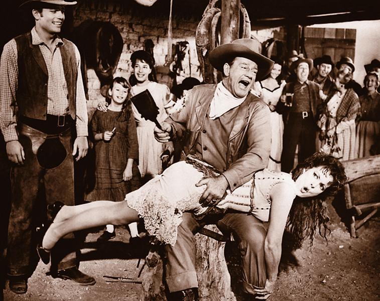 John Wayne and Maureen O'Hara in McLintock!