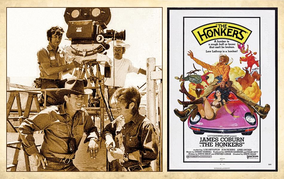 Steve Ihnat (standing at left) and Stephen Lodge (at right) unknowingly found themselves in a rodeo film race when they teamed up to write The Honkers.– All The Honkers images courtesy Stephen Lodge –