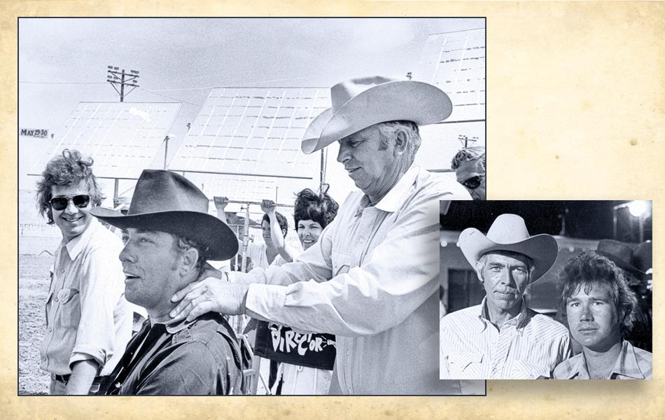 The Honkers crew was close. Slim Pickens even gave cowriter and director Steve Ihnat a neck rub. And although cowriter Stephen Lodge almost found himself at odds with James Coburn, he admired the actor's star quality (inset, Coburn and Lodge).