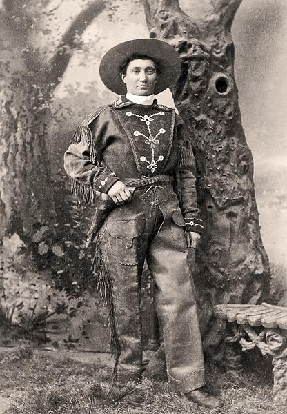"Shown here with her six-gun on her hip, Martha ""Calamity Jane"" Canary found freedom to live an unconventional lifestyle when she masqueraded as a man and secured employment as a muleskinner. This hard-drinking woman found a home in Nicholas Kappes's beer saloon in Rock Springs, Wyoming. He recalled her days frequenting the rougher saloons in nearby Green River, playing with her gun and bragging aloud, ""When this dog barks, somebody drops!""– Courtesy Heritage Auctions, May 21, 2011 –"
