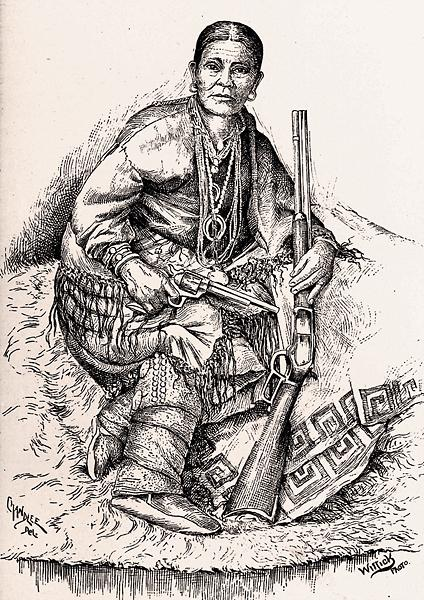 "Already subdued on the reservation by the time of this illustration, given the 1873 Winchester this Navajo woman holds, along with her Colt Single Action Peacemaker, the Navajo also models naja pendants. Other world cultures have worn najas to protect the wearer from the ""evil eye,"" yet Navajos usually wore the inverted crescents for decorative reasons.– Courtesy Denver Public Library –"