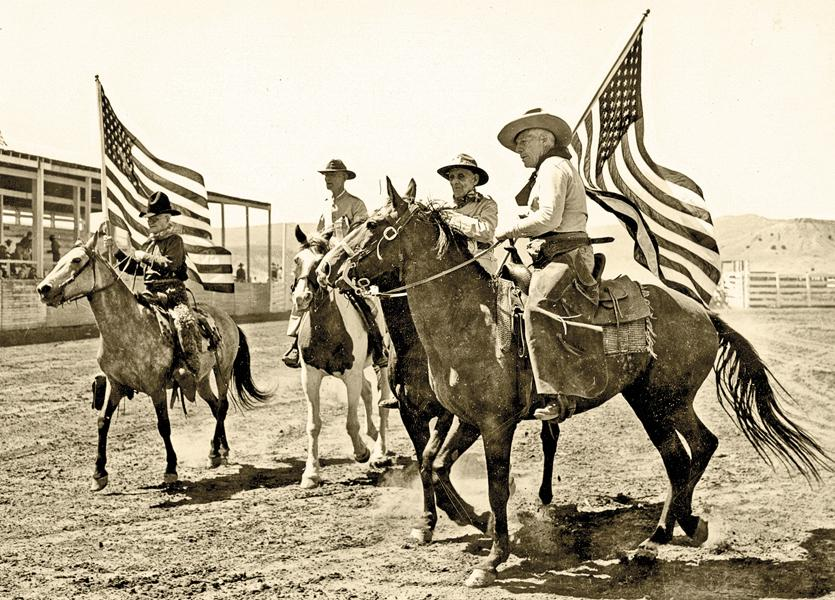 Billy McGinty, shown at a rodeo (at far left), was inducted into the Hall of Great Westerners in Oklahoma City in 2000.– Courtesy Rough Rider Archive, City of Las Vegas Museum and Rough Rider Memorial Collection, Las Vegas, New Mexico, 2011.2.550 –