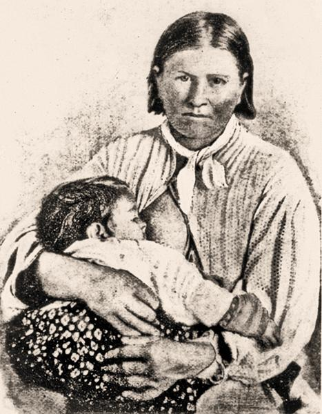 Cynthia Ann ParkerCynthia Ann Parker holds her daughter, Topsannah, in 1861, a year after Texas Rangers had rescued them from the Comanches who captured her in central Texas nearly 25 years earlier. She made several unsuccessful attempts to flee to her sons, Pecos and Quanah. The latter carried on his mother's legacy as the last free Comanche chief, serving as a link between whites and Comanches.