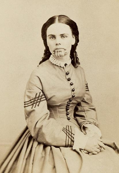 """During her four years with the Mohaves, Olive Oatman received a blue chin tattoo. """"They...pricked the skin in small regular rows on our chins with a very sharp stick, until they bled freely,"""" Oatman said. The Mohave then dipped the stick in weed juice and blue stone powder and applied it to the pinpricks on her face.– Courtesy Library of Congress –"""