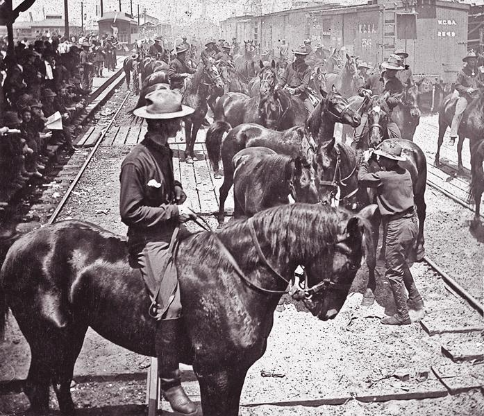 In 1898, Roosevelt's Rough Riders arrived with horses at Florida's Port Tampa and ended up without them in Cuba.– Courtesy Library of Congress –