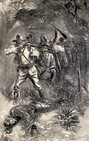 """McGinty and his mates fought their first battle in Las Guasimas, which Harper's 1899 Pictorial History of the War with Spain labeled a """"heroic stand."""">p>– Illustrated in Harper's Pictorial History of the War with Spain, 1899 –"""