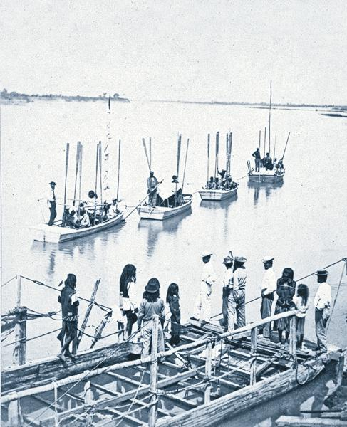 """River PartyIn 1871, Lt. George M. Wheeler led the """"first and only"""" boat expedition to ascend the Colorado River through the Grand Canyon to the mouth of Diamond Creek, as the stereograph caption states. Timothy H. O'Sullivan photographed Mohaves and explorers leaving the dock from Arizona's Camp Mohave for the 260-mile, 31-day journey.– Courtesy Library of Congress –"""