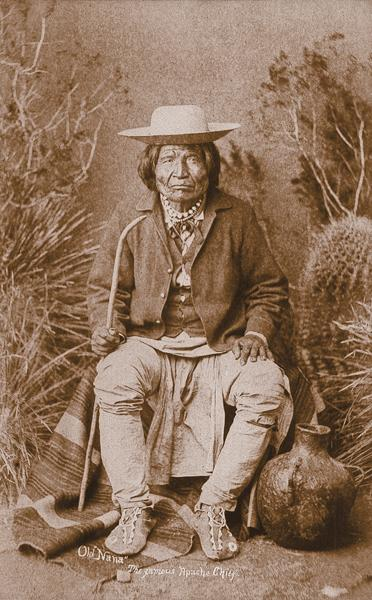 Old NanaTo stop Apache raids in Mexico, the U.S. government moved the Chiricahua to San Carlos. Despite his age (he was reportedly 80 when he raided New Mexico in 1881), Nana had the tenacity and courage to join Geronimo, Victorio and other leaders in bolting the Arizona reservation to continue their onslaughts. Nana is shown in a photograph attributed to Ben Wittick, believed to have been taken in 1886, when Nana finally surrendered to Gen. George Crook.– Courtesy Robert G. MCCubbin collection –