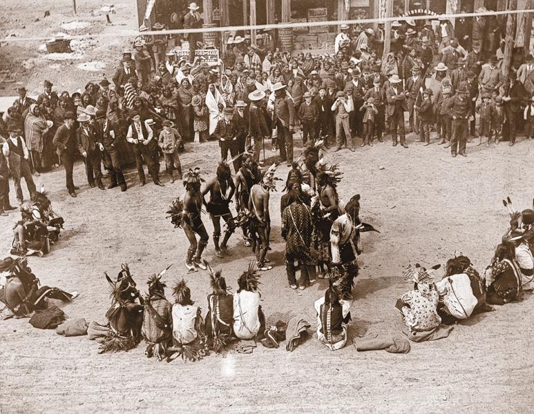 Omaha PowwowIntertribal visits during the early reservation period resulted in the Omahas passing down their dance to the Lakota around 1865. By the summer of 1881, the Cheyenne and Kiowa tribes were performing the Omaha dance. Ten years later, the Wiley brothers documented the Cheyennes' Omaha powwow in Miles City, Montana.– Courtesy Library of Congress –