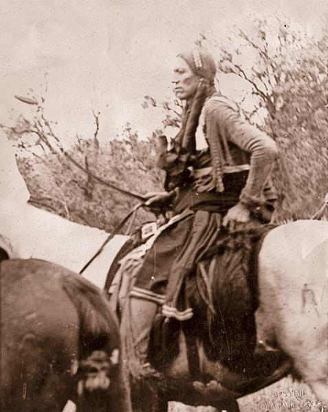 Quanah ParkerDiscovered in a glass plate negative collection owned by Ben Fish, of Iowa Park, Texas, this photo of the last Quahada Comanche chief, Quanah Parker, may have been taken by William E. Irwin. The collection included a known Irwin photograph of Quanah with two of his seven wives, circa 1890.– True West archives –