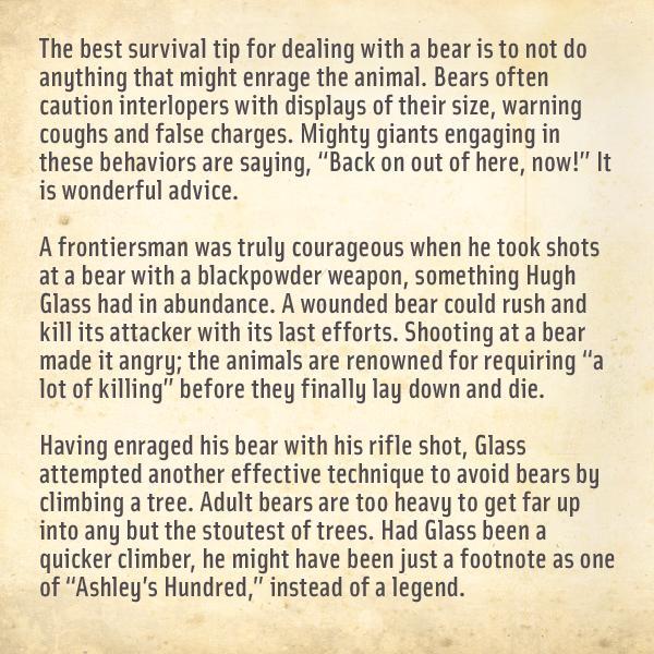 Hugh Glass's Bear Safety