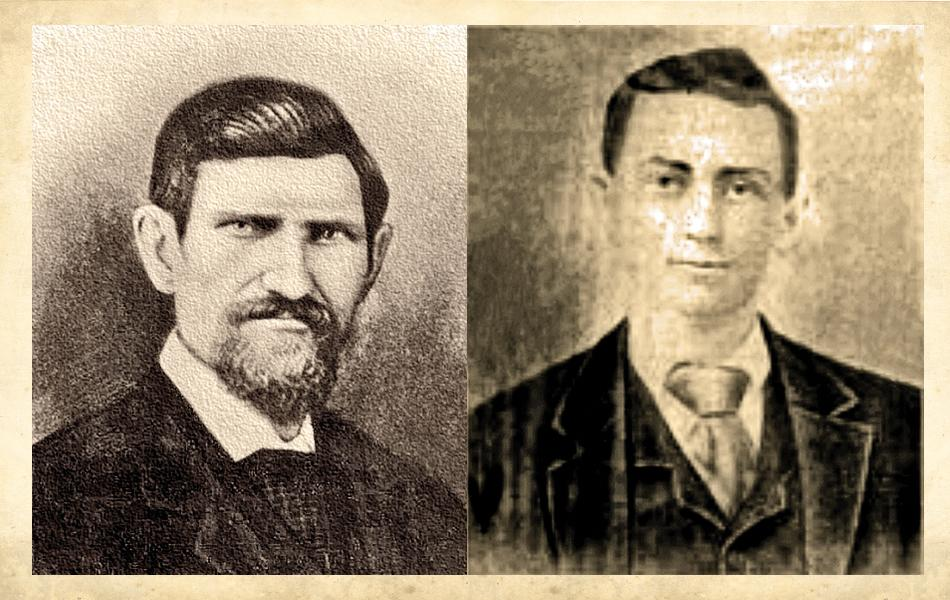 Deputy U.S. Marshal Joseph Dodson (right) had a reputation as a moonshiner's nightmare. He was shot dead, along with Deputy U.S. Marshal Benjamin F. Taylor (left), on August 29, 1897.– Dodson courtesy Norman W. Brown;Taylor courtesy Tinkalew Collection –