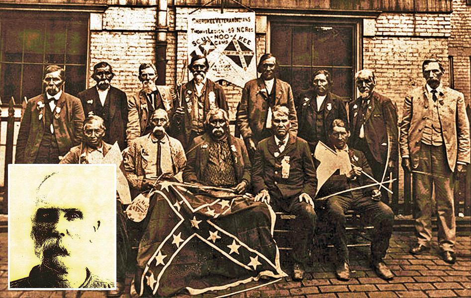 These veterans of William Holland Thomas's 69th North Carolina Regiment posed for this reunion gathering in North Carolina, circa 1905. Harve Bruce (inset) served in the unit as a teenager. He went from soldier to prisoner when he was in his 50s.– Courtesy J.D. Fortner –