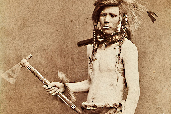 Shoshone-warrior-Leaping-Panther,tack-decorated-pipe-tomahawk