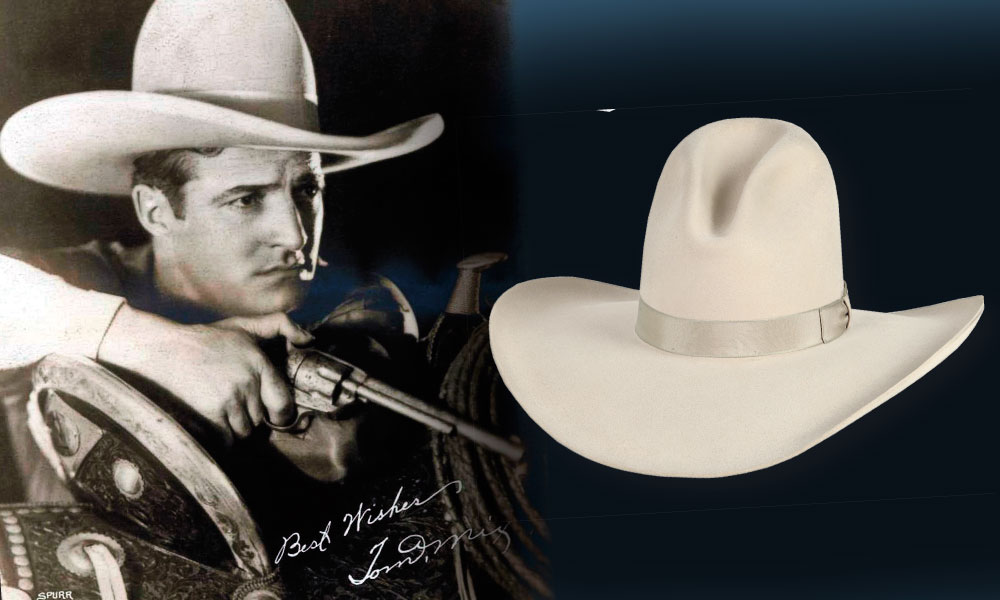 Tom Mix (far left) was known for his big brimmed cowboy hats during his entire acting career, and yet we cannot find a photograph of him wearing one with his namesake crease! AZ-Tex Hat Company makes a big brim hat in bone with the Tom Mix crease (inset); this style is more recently called the Gus, because a hat with this crease was also worn by the Lonesome Dove character played by Robert Duvall; $550.