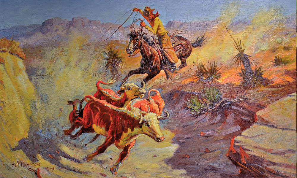 The influence of Montana cowboy artist Charles M. Russell's style is evident in CAA co-founder John Hampton's 1961 Untitled painting of a buckaroo chasing down maverick steers through a desert arroyo. – Courtesy Phippen Museum, Prescott, Arizona –