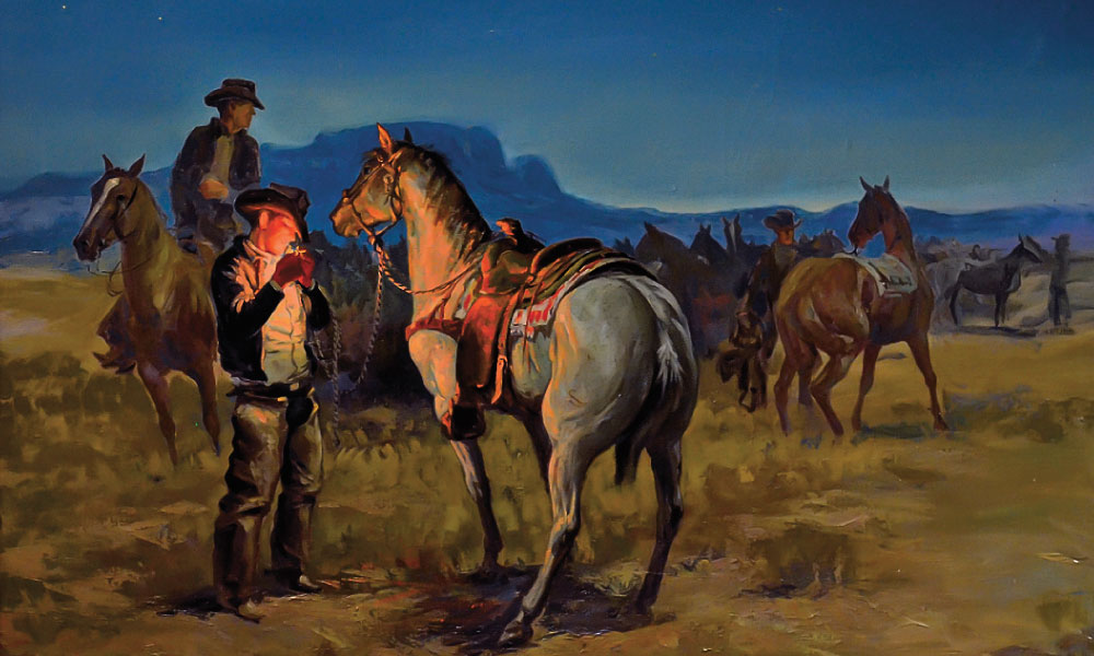 Arizona artist George Phippen, a co-founder and first president of the Cowboy Artists of America, was best known for his paintings of the working cowboy, such as his 1958 oil, The Crack of Dawn on a Cow Ranch. – Courtesy Phippen Museum, Prescott, Arizona –