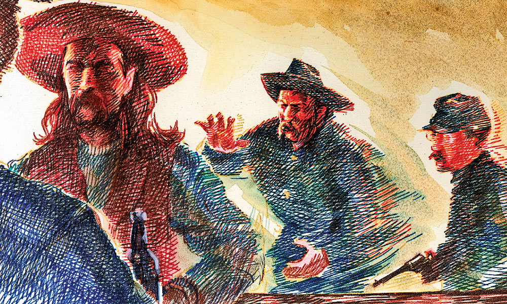 While Jeremiah Lonergan slips up behind Hickok at the bar, John Kile pulls a Remington pistol out from underneath his blouse and prepares to pounce. – By Bob Boze Bell